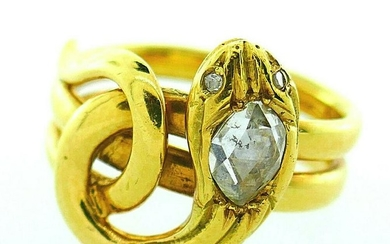 French Victorian Rose Cut Diamond 18k Yellow Gold Snake