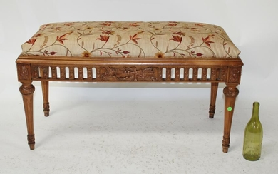French Louis XVI style upholstered backless bench