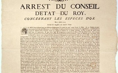 """GOLDEN CURRENCY. 1723. BURGUNDY & BRESSE. GOLDEN COAST - """"Arrest of the King's Council, concerning the GOLDEN Species."""" - Made at the Conseil d'Etat du Roy, in MEUDON (92) on August 5, 1723, signed PHELYPEAUX - Beautiful royal vignette and lettering -..."""
