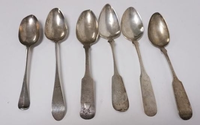 GRP OF 6 COIN SILVER SERVING SPOONS, VARIOUS MAKERS