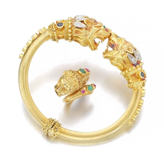 Gold and gem-set bracelet, Ilias Lalaounis, and a ring