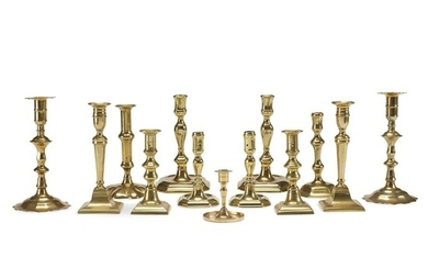 Group of fifteen brass candlesticks English and Dutch, 17th-19th...