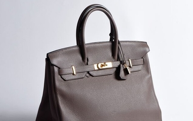 HERMES - Birkin bag in grained grey leather...