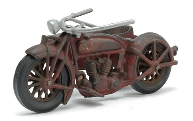 HUBLEY CAST IRON MOTORCYCLE WITH SIDECAR.