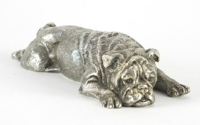 Heavy silver model of a recumbent pug dog, LM, London