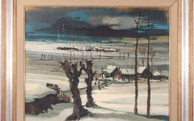 Houses in a winter landscape with a river, panel dated