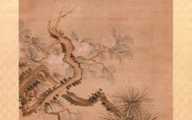 """JAPANESE SCROLL PAINTING ON SILK Depicts flowering dogwood and pine tree branches. Signed and seal marked lower left. 47.5"""" x 20""""."""