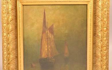 J.B. Boltz 19th Century Oil on Canvas Sailboat Scene.