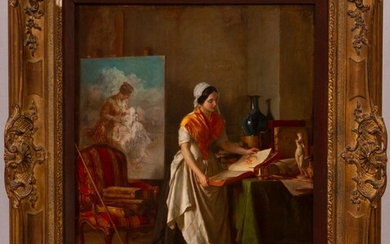 """JEAN BAPTISTE ANTOINE EMILE BERANGER (FRENCH, 1814-83), OIL ON MAHOGANY PANEL, H 16"""", W 13"""", A PLEASANT DISTRACTION"""