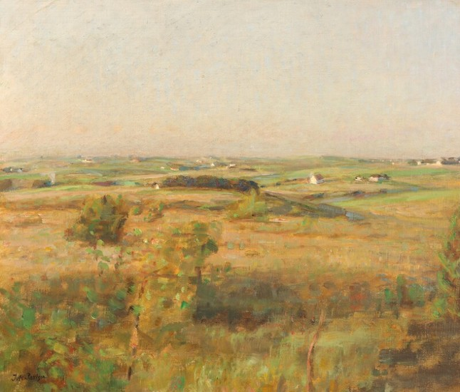 Julius Paulsen: Landscape with view of houses and fields. Signed Jul. Paulsen. Oil on canvas. 55×65 cm.