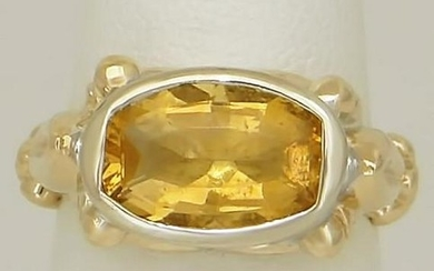 LADIES TWO TONE 14k GOLD HIGH POLISH 4.00ct OVAL YELLOW
