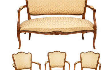 LOUIS XV-STYLE CARVED WALNUT SILK-DAMASK UPHOLSTERED FOUR-PIECE PARLOR SUITE, LATE 19TH CENTURY