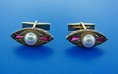LUXURIOUS 14k Yellow Gold, Pearl & Ruby Cufflinks