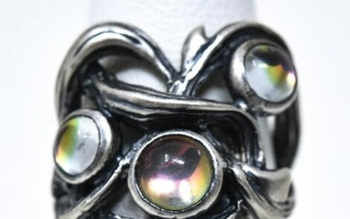 Lalique Art Nouveau Style Sterling Art Glass Ring
