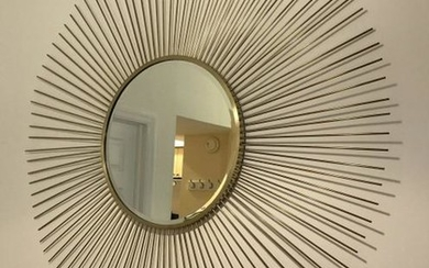"Large 59"" Sunburst Form Metal Gilded Mirror"
