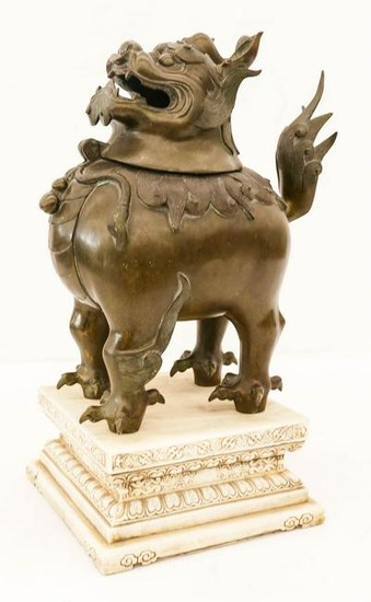 Large Chinese Qilin Bronze Censer on Marble Pedestal