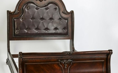 Leather upholstered queen size bed