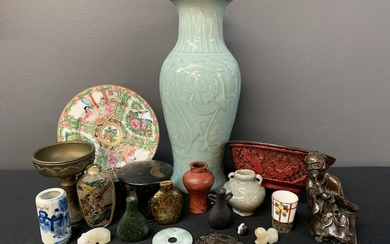 Lot Of 19 Antique Chinese Porcelain, Jade, Bronze