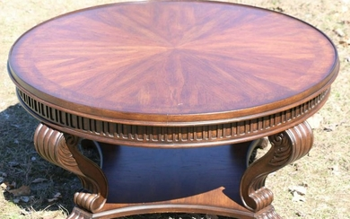 MODERN MAHOGANY CENTER TABLE WITH BANDED MARQUETRY