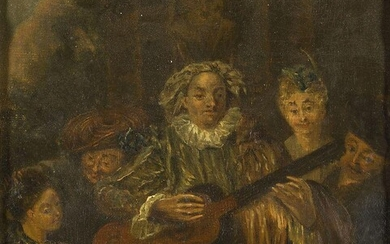 Manner of Jean-Antoine Watteau, early 19th century Harlequin Playing Guitar...