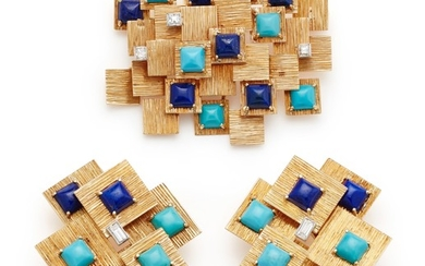 Marianne Ostier, A Pair of Lapis Lazuli, Turquoise, Diamond and Gold Earrings and Brooch