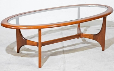 Mid Century Modern Oval Glass Top Coffee Table