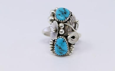 Native American Navajo Sterling Silver Turquoise Ring