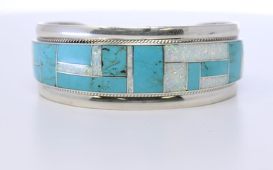 Native American Sterling Silver Zuni Handmade Turquoise