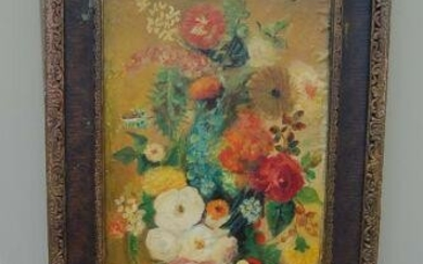 """Old Oil Painting on Canvas, Framed """"Still Life Flowers"""""""