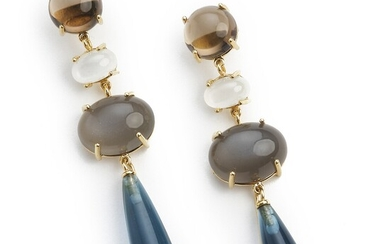 """Ole Lynggaard: A pair of """"Lotus"""" ear pendants each set with a cabochon smoky quartz and a detachable grey and white cabochon moonstone and a pear-shaped topaz."""