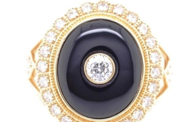 Onyx, diamond and 18ct yellow gold dress ring with diamond s...