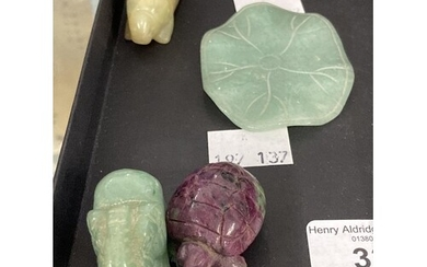 Oriental Objects of Virtue: Carved jade pale green lily pad ...