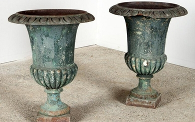 PAIR FRENCH PAINTED CAST IRON GARDEN URNS