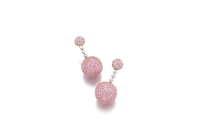 PAIR OF PINK SAPPHIRE AND DIAMOND EARRINGS, 'BOULE', DE GRISOGONO