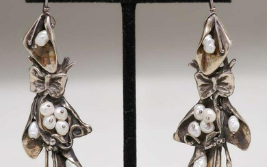 Pair Arts & Crafts Sterling Silver & Seed Pearl