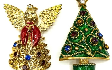 Pair Costume Christmas Brooches Earrings