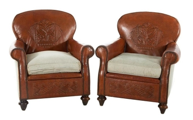 Pair leather and fabric upholstered club chairs (2pcs)