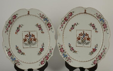 Pair of 18th Century Chinese Export Armorial Porcelain