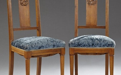 Pair of French Art Deco Carved Walnut Boudoir Chairs