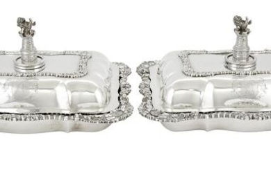 Pair of George IV Sterling Silver Covered Entree Dishes