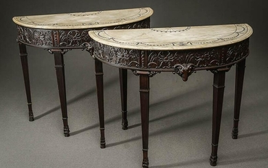 Pair of Irish George III Style Mahogany and Black Marquetry White Marble Demilune Console Tables Last Quarter 19th Century