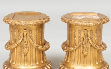Pair of Louis XVI Style Giltwood Fluted Plinths