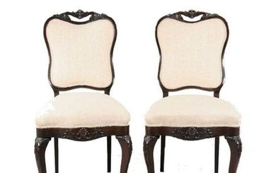 Pair of Mid 19thc Estate Carved Rosewood Side Chairs