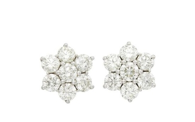 Pair of Platinum and Diamond Floret Earrings