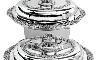 Pair of Victorian Sterling Silver Entree Dishes or