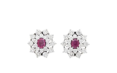 Pair of White Gold, Ruby and Diamond Earrings