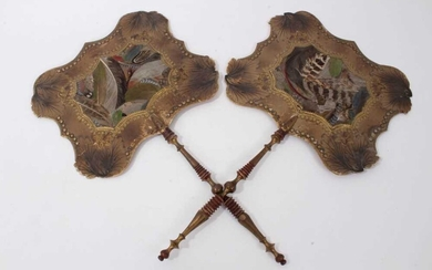 Pair of early 19th century face screens applied with feathers