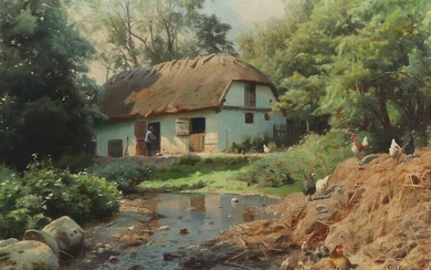 Peder Mønsted: Summer at a river by a farm. Signed and dated P. Mönsted. Sæby...