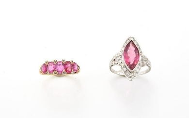 Platinum, Pink Tourmaline and Diamond Ring and Gold, Ruby and Diamond Ring
