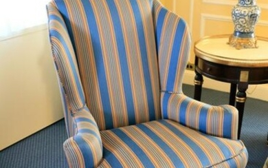 Queen Anne style wing chair with royal blue, burgundy
